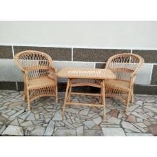 """Комплект меблів з лози """"Простий"""" 2 крісла"""