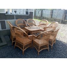 """Комплект меблів з лози """"Простий"""" 8 крісел"""