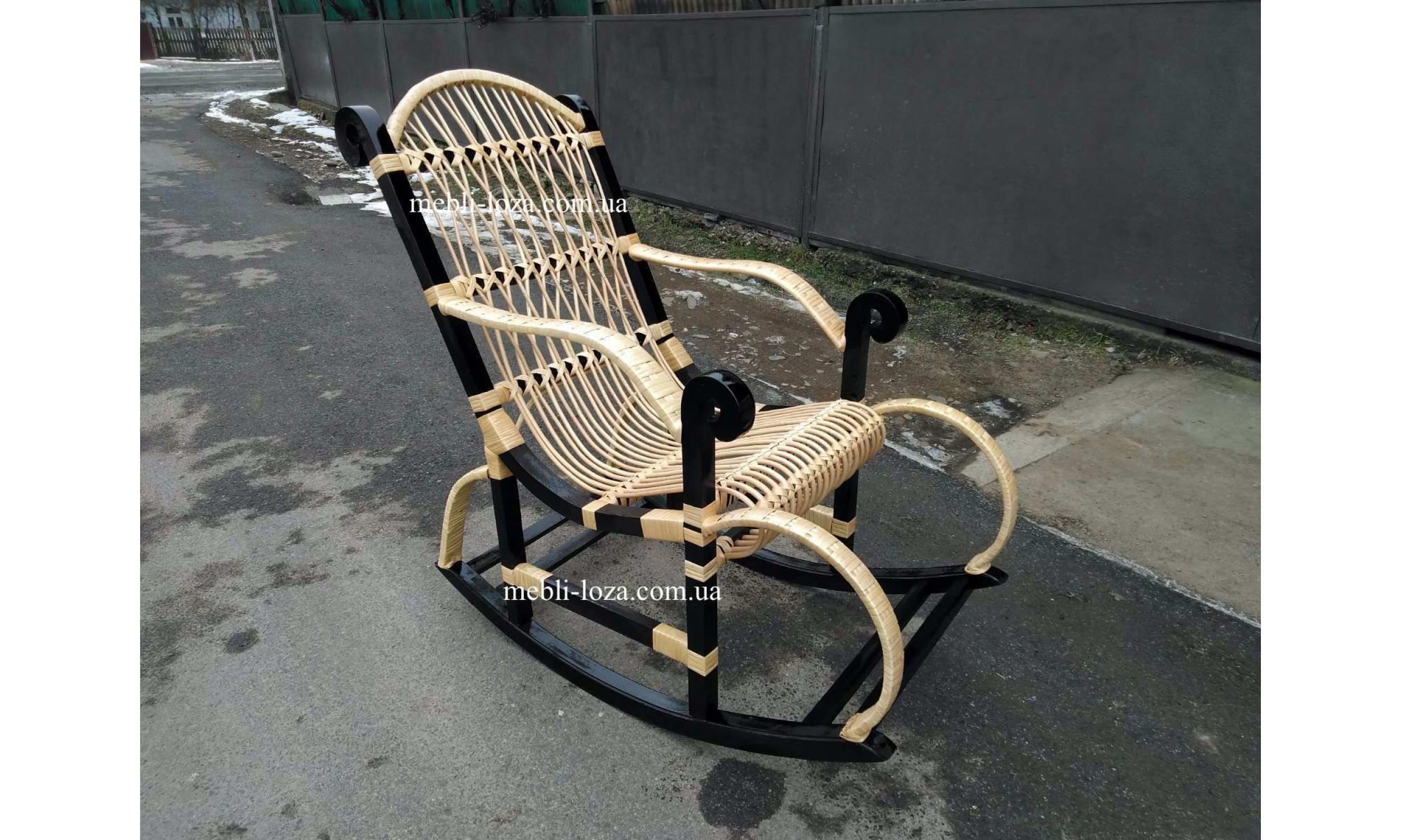 Крісло гойдалка з лози + ротанг (Розбірна) №5