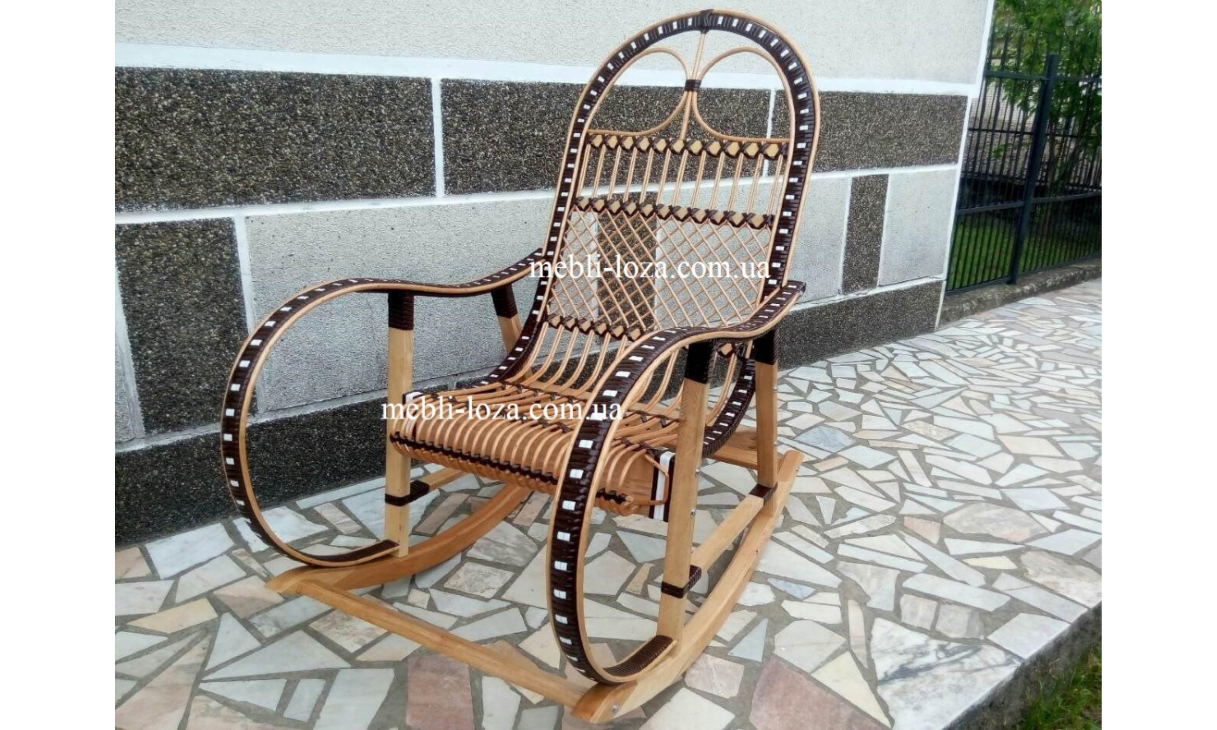 Крісло гойдалка з лози + ротанг (розборние) №1